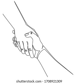 Continuous line drawing Helping hand concept. Gesture, sign of help and hope. Two hands taking each other. Isolated illustration on white background.