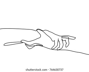Continuous line drawing. Holding man and woman hands together. Vector illustration
