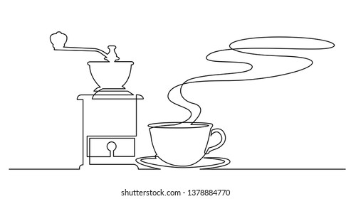 continuous line drawing of hot aroma cup of coffee and vintage manual coffee grinder
