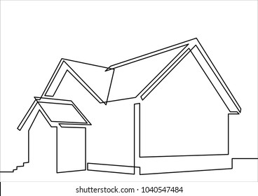 continuous line drawing of house