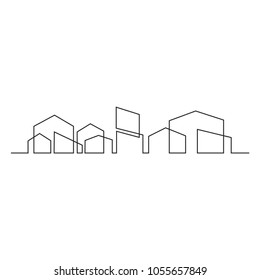 continuous line drawing of house, building, residential  concept, logo, symbol, construction, vector illustration simple.