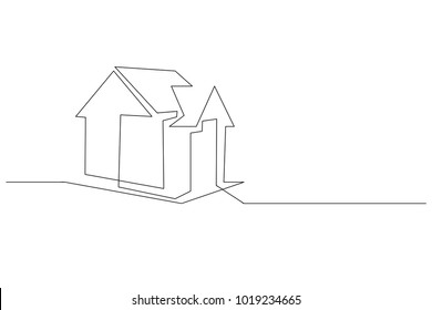 continuous line drawing of house, concept, logo, construction, building, vector illustration