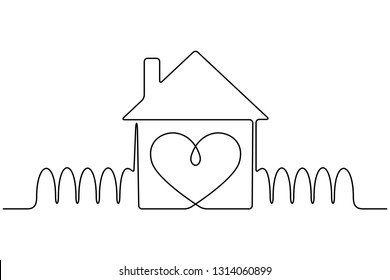 Continuous line drawing. House with heart. Love symbol. Black isolated on white background. Hand drawn vector illustration.