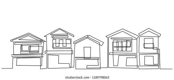continuous line drawing of house,  residential building concept, logo, symbol, construction, vector illustration simple.