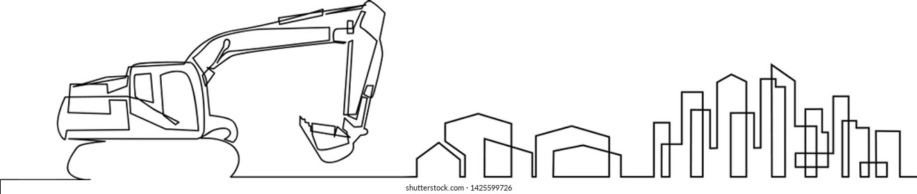 continuous line drawing of house, residential building concept, logo, symbol, construction, vector illustration simple. The building is being constructed with a loader machine.