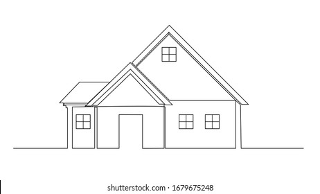 continuous line drawing of house, residential building concept, logo, symbol, construction, illustration simple.vector. one line drawing of a house. house 2D drawing.