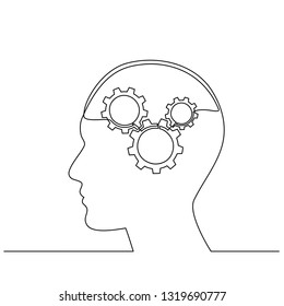 continuous line drawing of Human head with gears. Artificial intelligence. Technology progress. one line illustration. Robot. Contour symbol. Vector isolated outline drawing. Vector