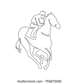 Continuous Line Drawing Illustration Of A Jockey Riding On Horse Racing Done In Sketch Or Doodle