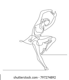 Continuous line drawing. Illustration shows a Ballerina in motion. Art. Ballet. Vector illustration