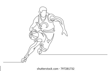 Continuous line drawing. Illustration shows a basketball player in the attack. Sport. Basketball. Vector illustration