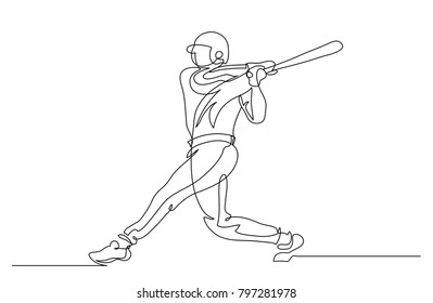 Continuous line drawing. Illustration shows a player beats a baseball bat on the ball. Sport. Baseball. Vector illustration