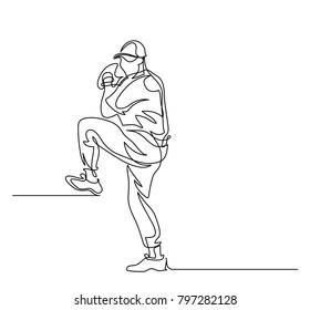 Continuous line drawing. Illustration shows a baseball player throwing the ball. Sport. Baseball. Vector illustration