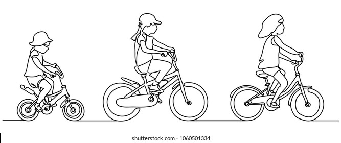 Continuous line drawing. Isolated on the white background. Girls on biker. Vector illustration. sketch. People in the Park