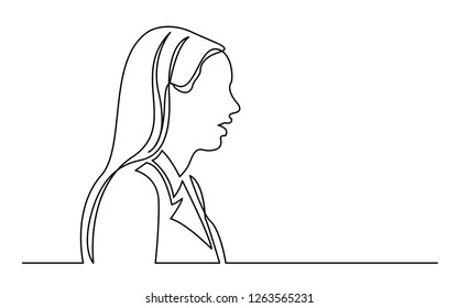 continuous line drawing of isolated on white background profile portrait of surprized ordinary woman