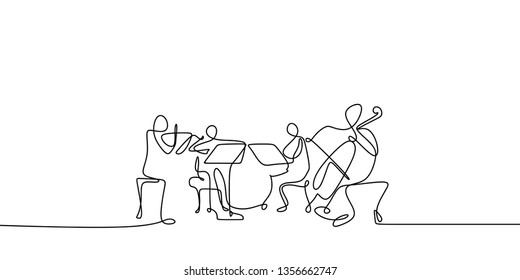 continuous line drawing of jazz classical music concert performance on the stage.