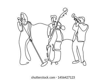 Continuous line drawing jazz music player. A group of singer, cello player, trumpet person isolated on white background.