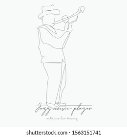 continuous line drawing. jazz music player. simple vector illustration. jazz music player concept hand drawing sketch line.