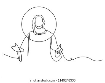 continuous line drawing of Jesus Christ religion illustrator