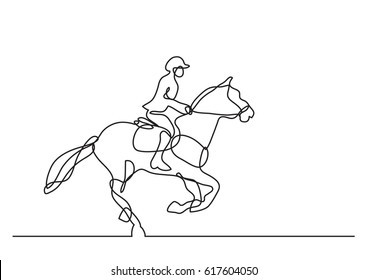 continuous line drawing of jockey riding horse