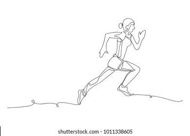 continuous line drawing of jogging.run concept, fitness, sports, health, vector illustration simple.