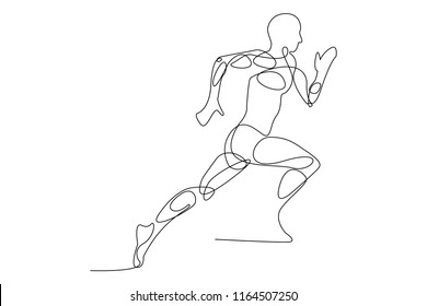 continuous line drawing of jogging run exercise vector illustration