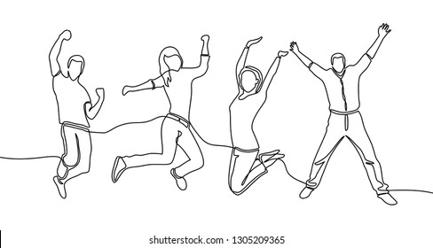continuous line drawing of jumping happy team members. happiness, freedom, motion and people concept. smiling young friends. jumping in air. vector - Vector