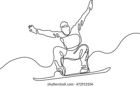 continuous line drawing jumping snowboarder