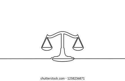 Continuous line drawing of justice scales. vector illustration for banner, poster, web, template. Black thin line image of justice scales icon