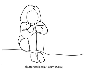 continuous line drawing of Kids are sitting sad vector illustration.