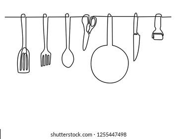 Continuous line drawing of Kitchen appliances