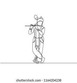 continuous line drawing. Krishna plays the flute. Silhouette. Govinda. God.
