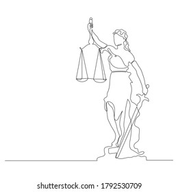 continuous line drawing of lady justice blindfolded
