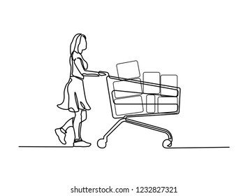 continuous line drawing lady in salwar suit with shopping cart