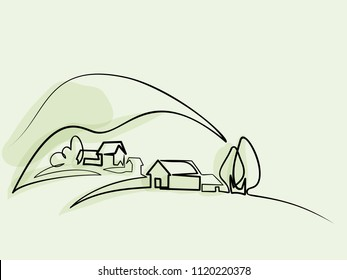 Continuous line drawing. Landscape with village on hill. Vector color illustration. Concept for logo, card, banner, poster, flyer