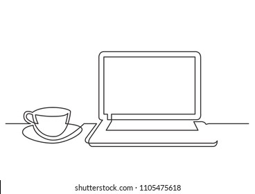 continuous line drawing of laptop computer cup of tea