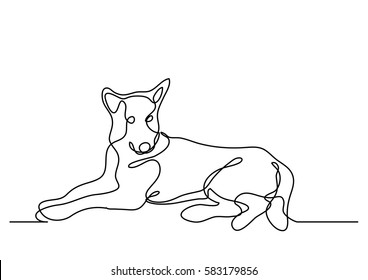 continuous line drawing of laying shepherd dog