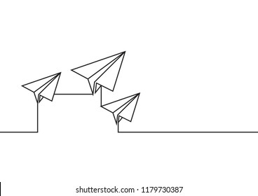 Continuous line drawing of leader airplane flying on white background. Business concept. vector illustration