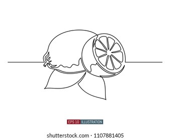 Continuous line drawing of lemon. Template for your design. Vector illustration.