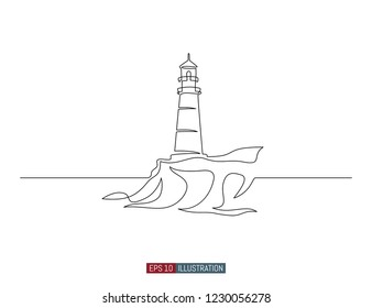 Continuous line drawing of lighthouse. Template for your design works. Vector illustration.