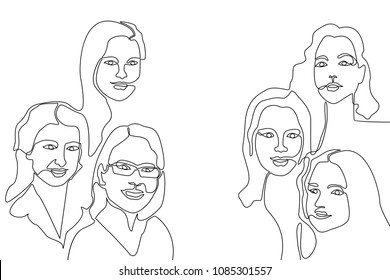 Continuous line drawing. Linear women faces. Design fora cards, covers, posters.