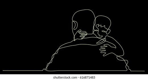 continuous line drawing of little Boy Hugging his father