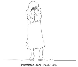 continuous line drawing of  little girl covering face with hands, facial expression, young woman do not wear shoes stand on the floor.