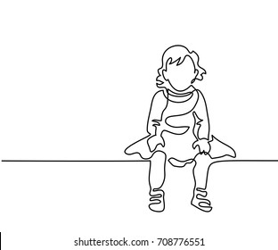 Continuous line drawing. Little girl dressed up sitting. Vector illustration