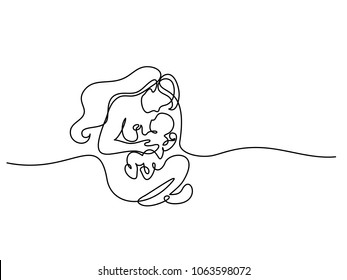 Continuous line drawing. Logo with mother holding her baby. Vector illustration