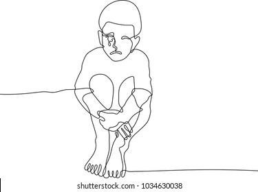 Continuous line drawing of lonely sad child and hug his knees sitting on the floor, crying boy on white background.