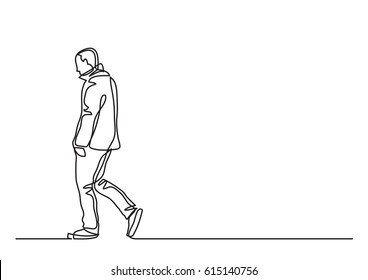 continuous line drawing of lonely walking man