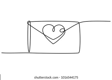 Continuous line drawing. Love letter with heart. Valentine's day. Template for love cards and invitations. Isolated on white background. Hand drawn vector illustration.