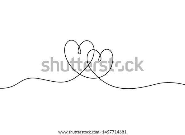 Continuous line drawing of love sign with two hearts embrace minimalism design on white background