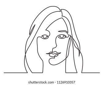 continuous line drawing of lovely woman portrait on white background