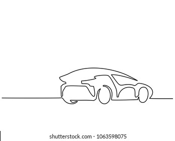 Continuous line drawing. Luxury car back. Vector illustration